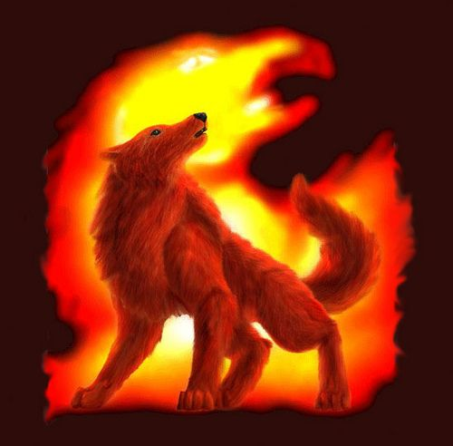 anime Fire Wolves | Fire: A dark red female pup with ...