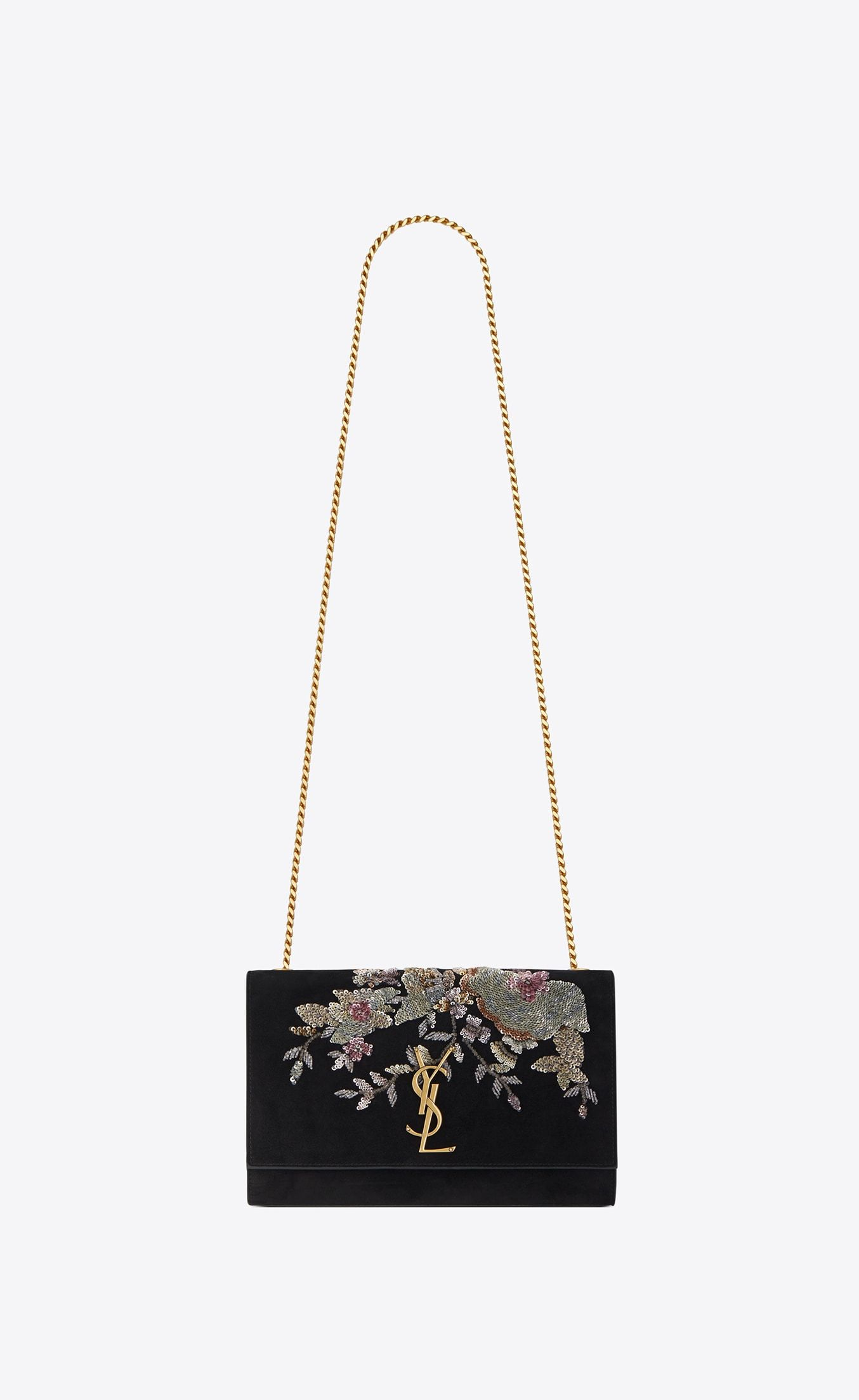 8f0bc1b9b1ca Saint Laurent Medium KATE Chain Bag In Black Suede Embroidered With Sequins  And Multicolored Crystals