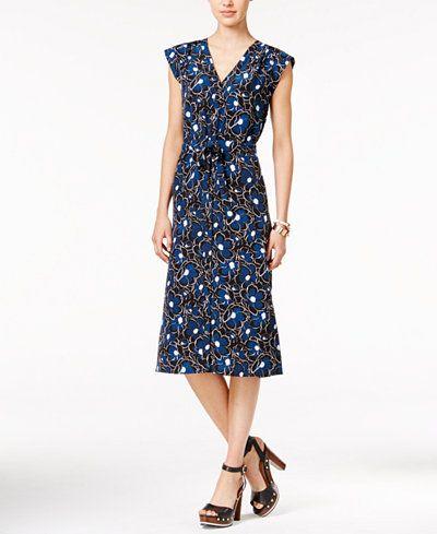 Tommy Hilfiger Cap-Sleeve Floral-Print Shift Dress
