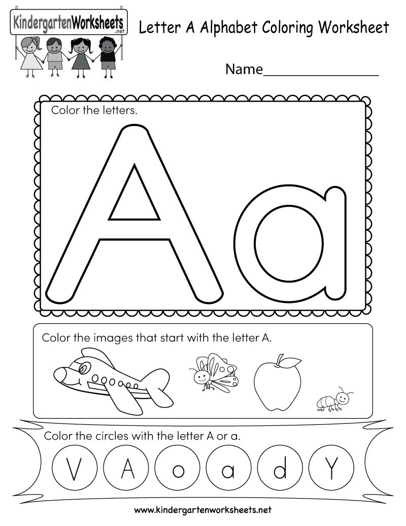 Kindergarten Letter A Coloring Worksheet Printable ...