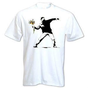 Banksy Flower Thrower T shirt http://www.bangtidyclothing.co.uk/banksy-flower-thrower-unisex-t-shirt-2088-p.asp
