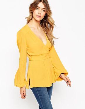 predominante venta minorista disfruta del envío gratis Blusa estilo años 70 cruzada Obi de ASOS | Fashion Glam <3 ...