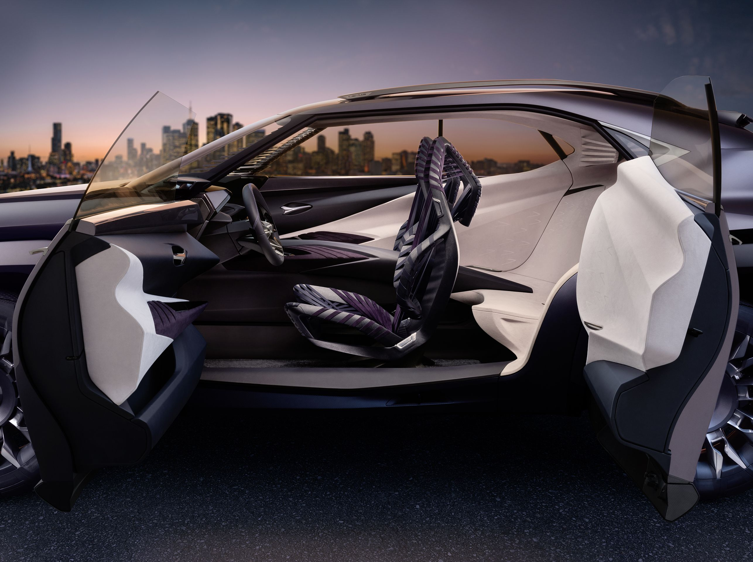 Two Perceptions Of Luxury In One Cabin The Front Of The Lexus Ux Concept Represents Agile Sophistication And Driver Engagement While The Re Concept Cars Lexus