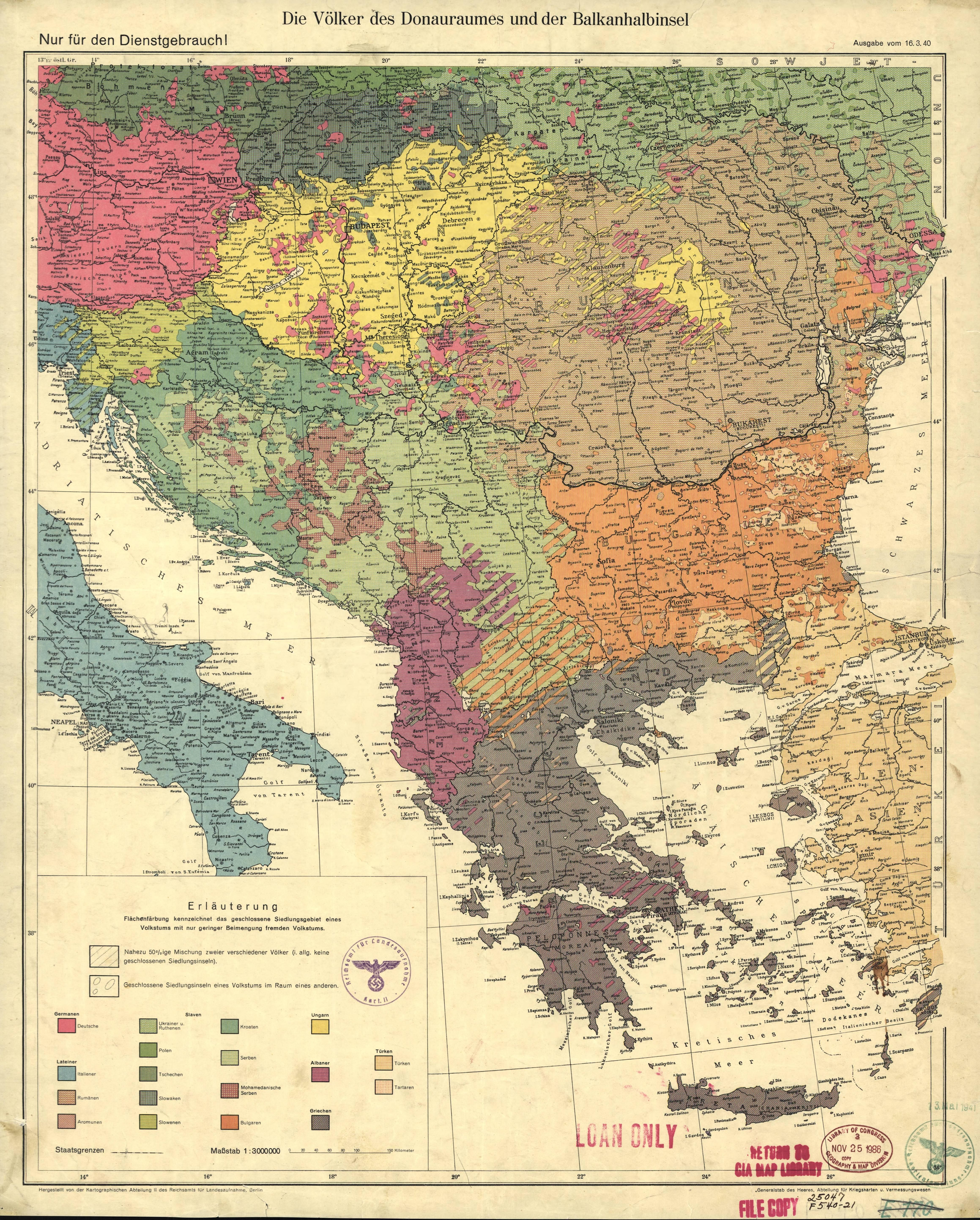 The peoples of the Danube basin and the Balkans, Berlin 1940 ...
