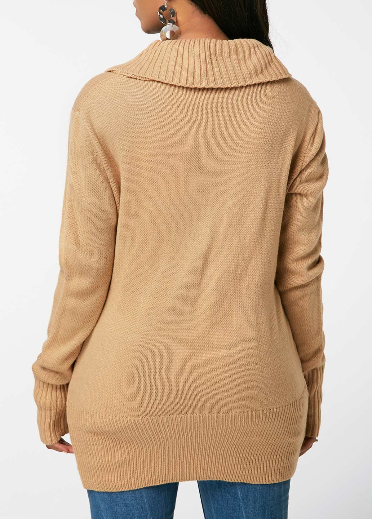 Lace Up Detail Khaki V Neck Sweater  0887c1bee