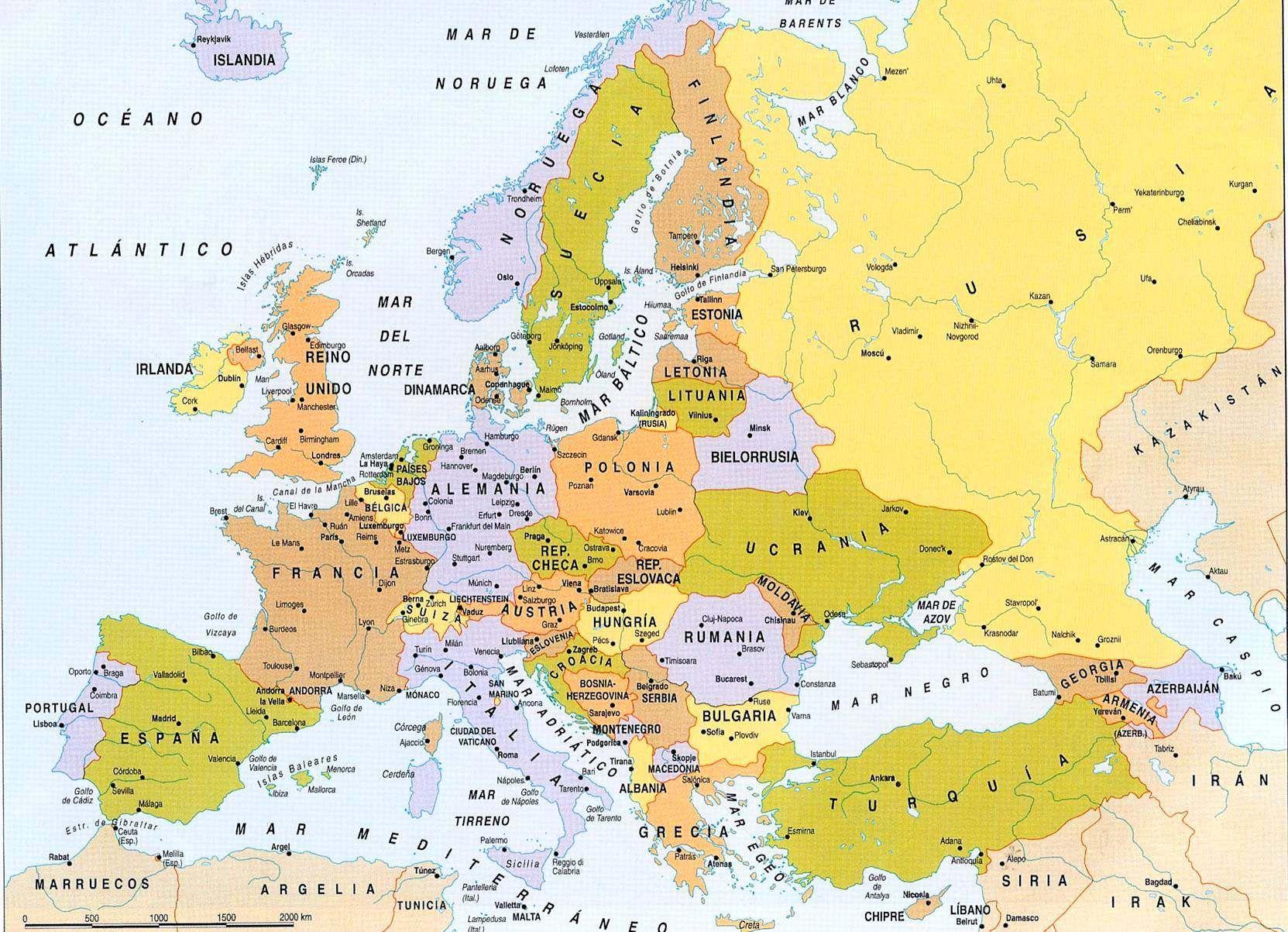 Mapa Politico De Europa Grande Con Breve Descripcion Geografica