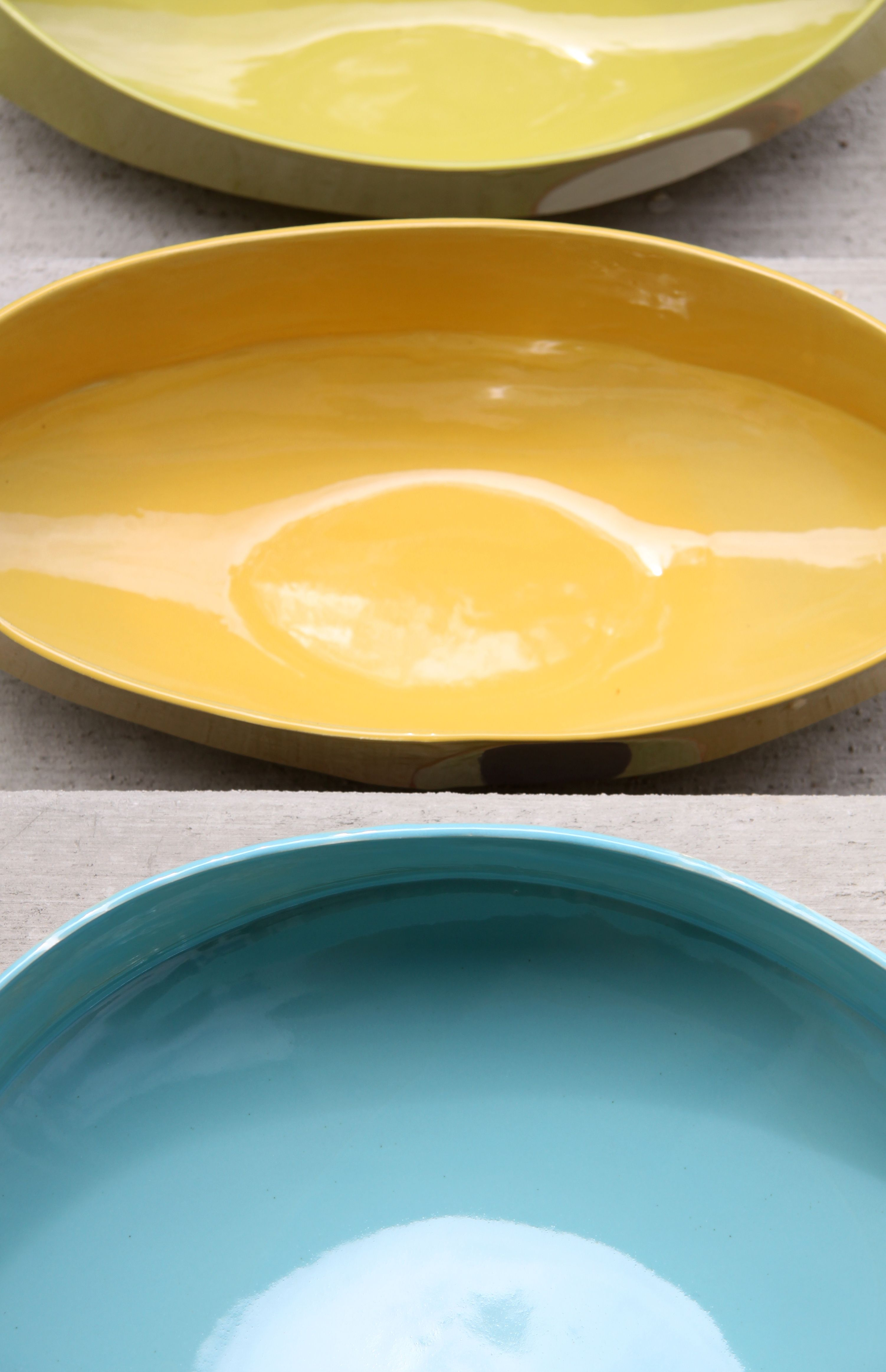 Close up of contemporary ceramic bowls made by Jill Zeidler