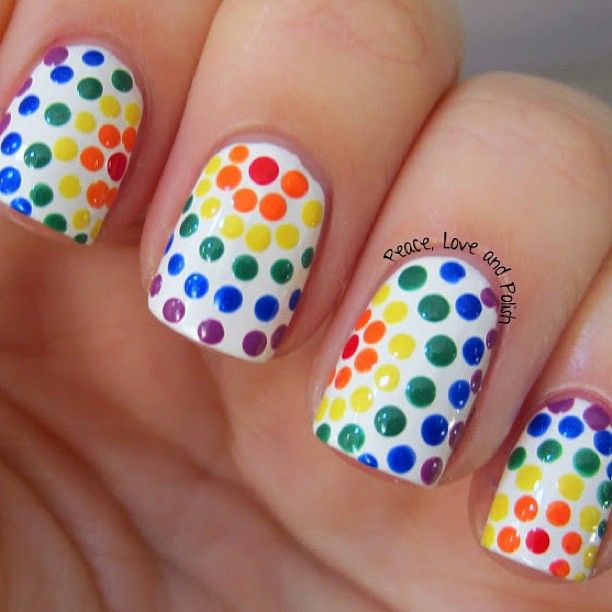 Pride Nail Designs: White Nails With Multi-color Rainbow Polka-dots Free Hand