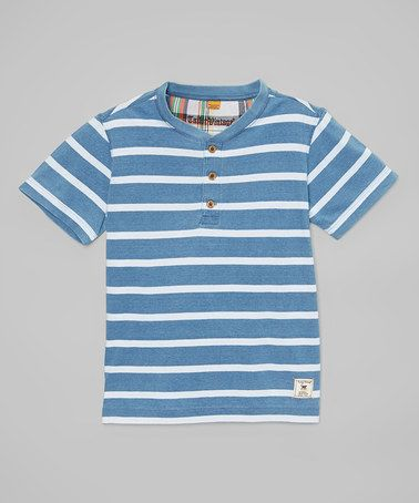 Another great find on #zulily! Light Blue Stripe Henley - Toddler & Boys #zulilyfinds