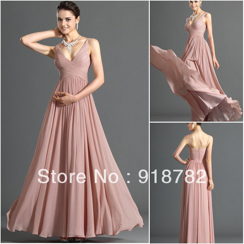 Custom Made Size Color 2013 Newest Best Selling Fshion Elegant Evening Long Dress V-Neck Straps Chffon Prom Party Gowns