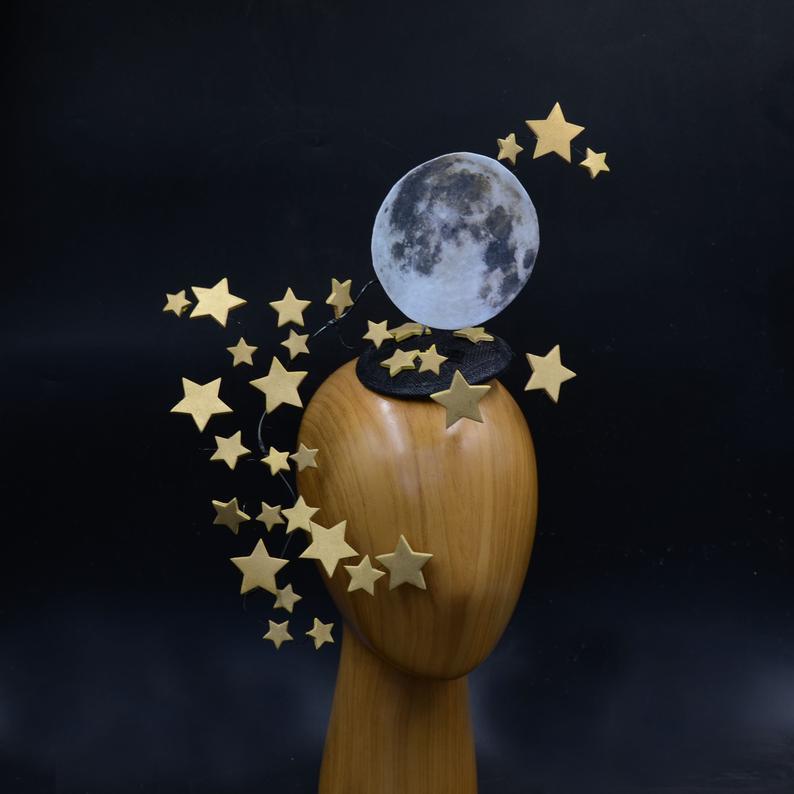 Silver Stars Full Moon Headdress Convertible Surreal Etsy Halloween Masquerade Fascinator Headdress