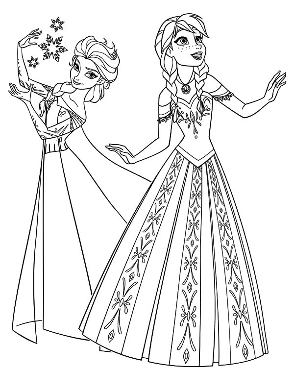 Princess Anna And Queen Elsa From Frozen Coloring Pages Best Place To Color Frozen Coloring Pages Elsa Coloring Pages Disney Princess Coloring Pages