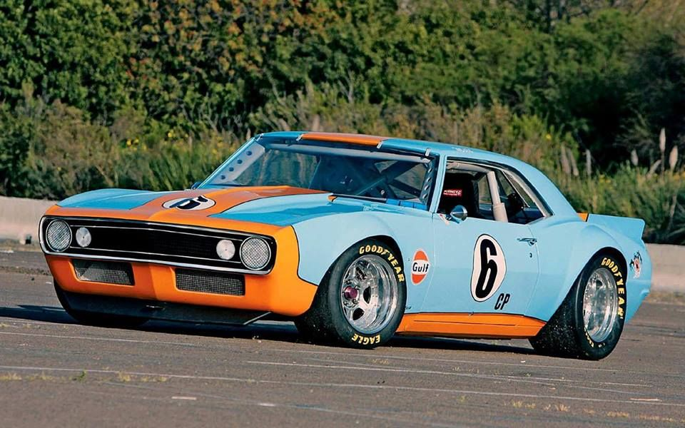 Classic Muscle Camaro In Gulf Oil Race Trim Camaro Race Cars