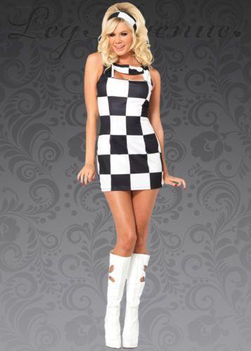 Womens 1960s Mary Quant Style Mini Dress Costume