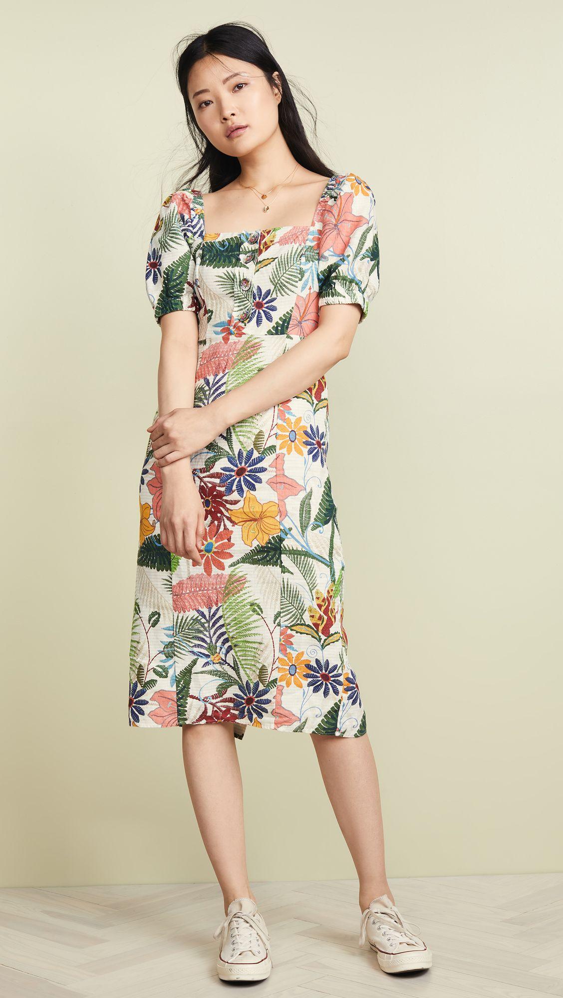 Vintage Garden Midi Puffed Sleeve Dress With Images Puff Sleeve Dresses Dresses With Sleeves