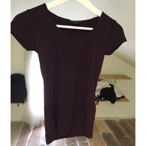 BURGUNDY TEE SHIRT Cute when worn. Petite size. Made in the USA size is P/S. Ralph Lauren Tops Tees - Short Sleeve