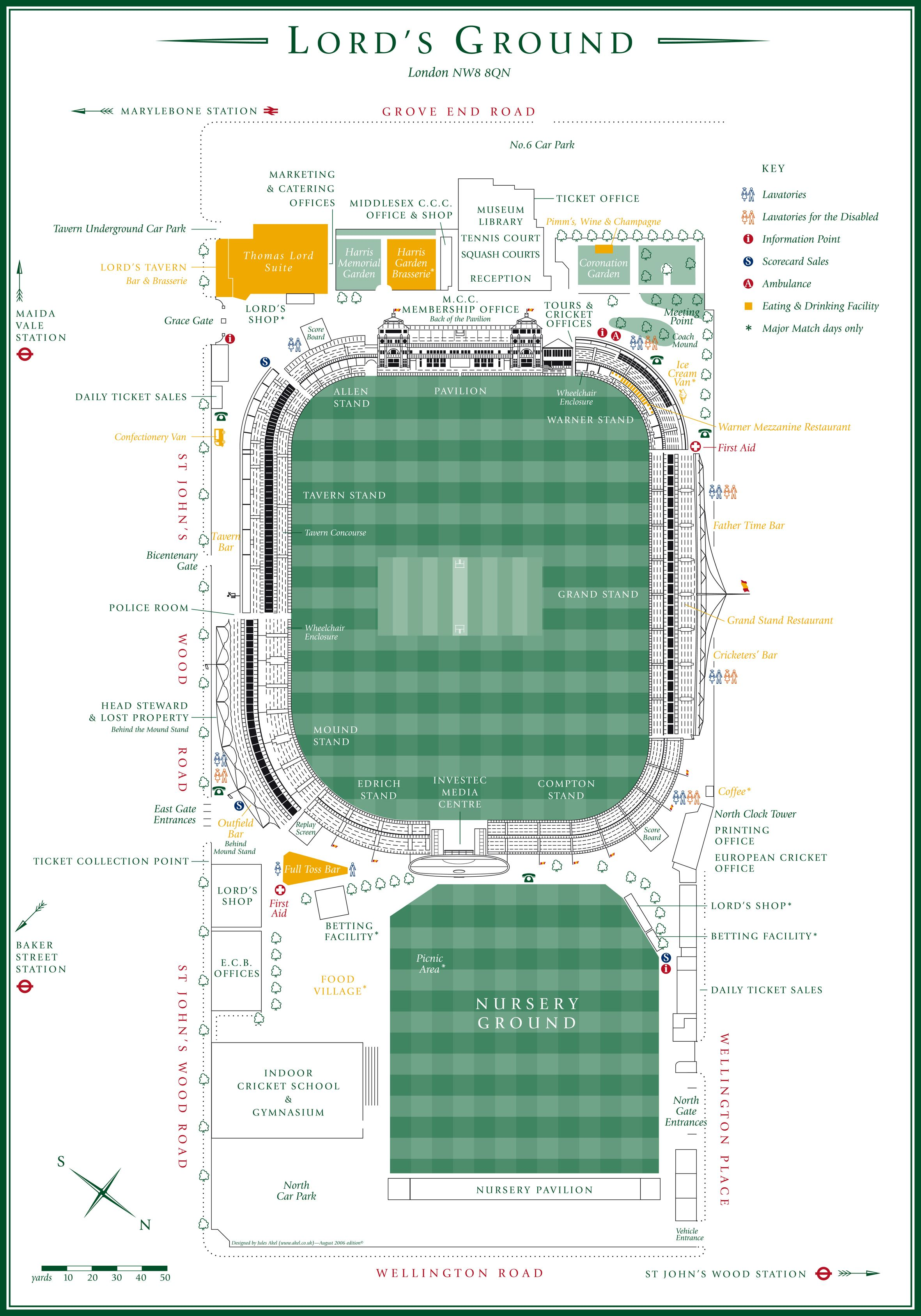 Lords Ground Map Cricket ©: Map of Lords Cricket Ground, London, England [{('Lords