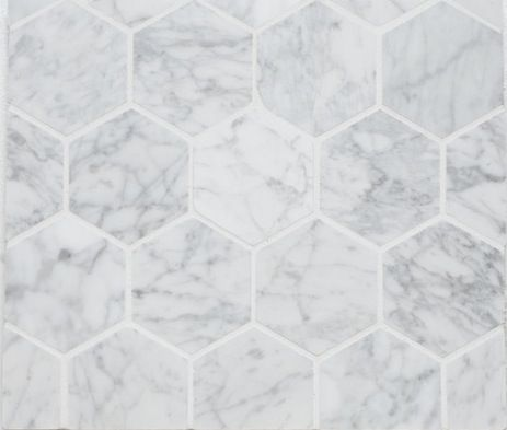 Hexagon Mosaic Tile, 3' Bianco Carrara | Honed | flooring ...