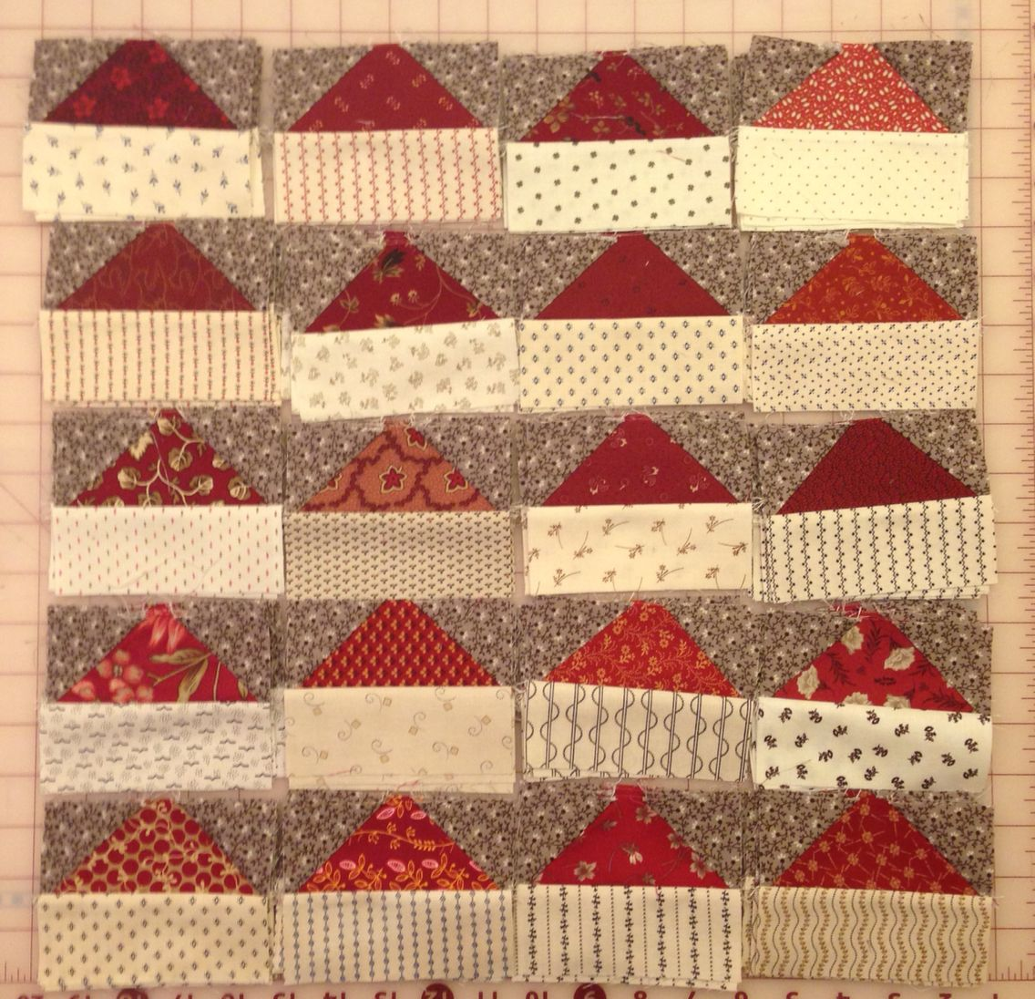 """Fraew - Clayton, CA  Bonnie's color scheme in civil war reproduction prints. BH Mystery 2015 - Allietare  Clue #2: """"Santa hats"""".  To see what other quilters have posted about Clue 2: http://quiltville.blogspot.com/2015/12/allietare-mystery-monday-link-up-part-2.html"""