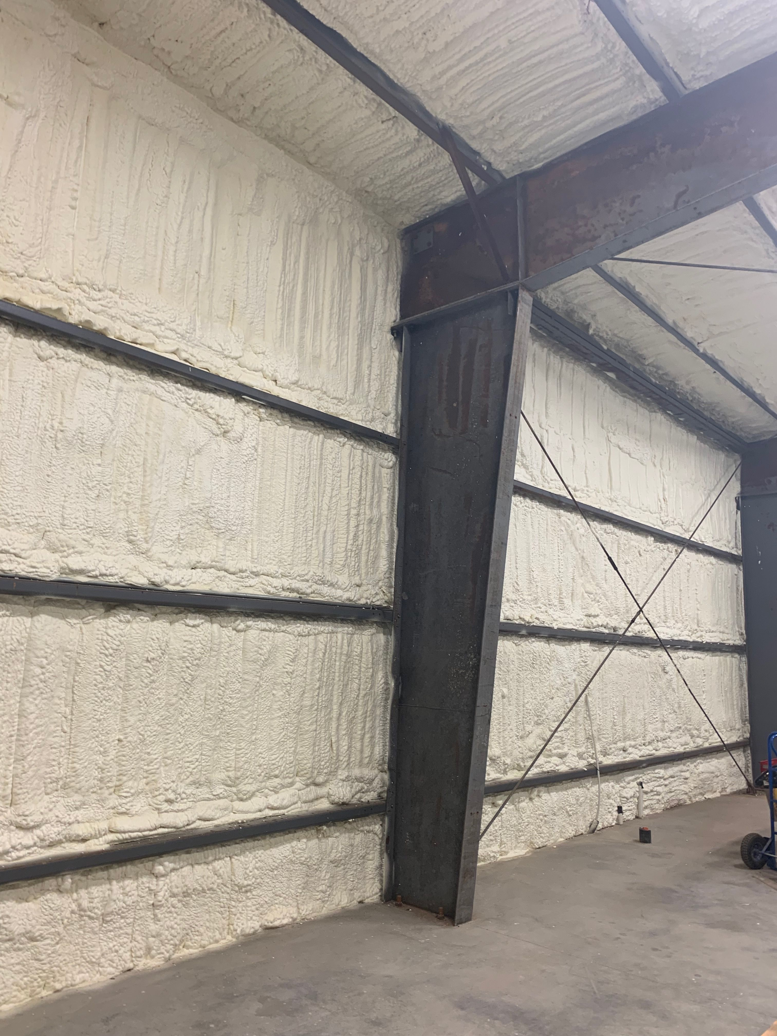 Open Cell Spray Foam Insulation Installed On The Exterior Walls