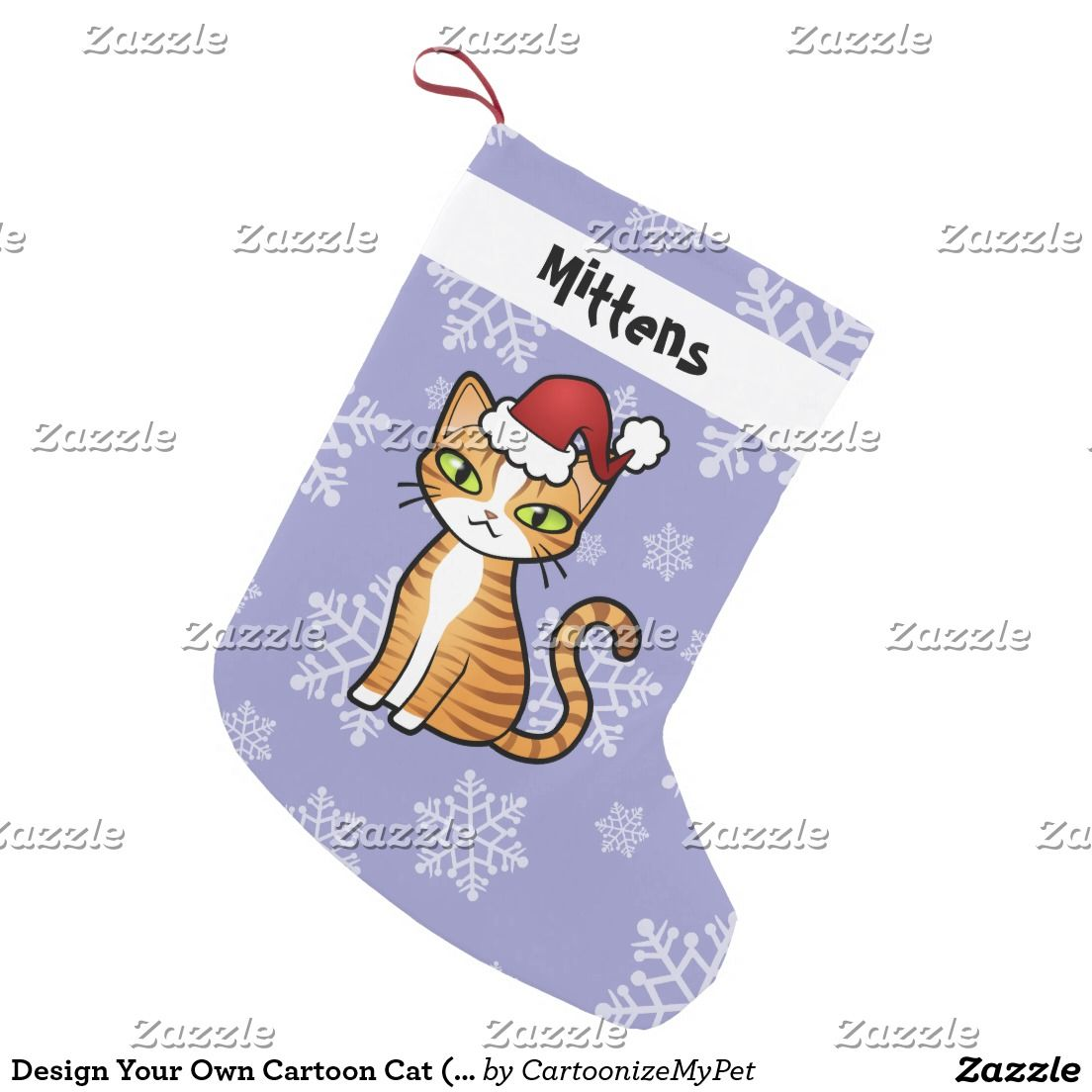 Design Your Own Cartoon Cat Christmas Small Stocking