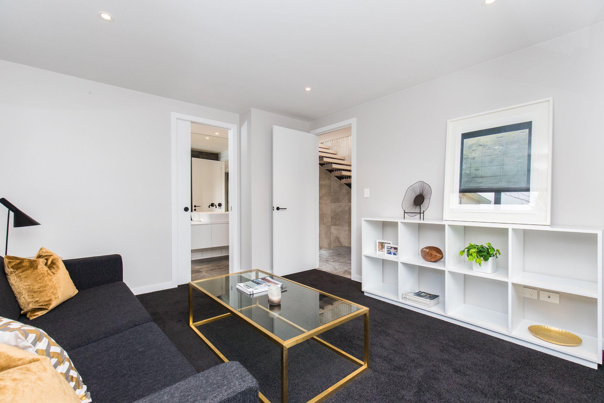 Dark carpet and white nice combo | home renovation inspiration ...