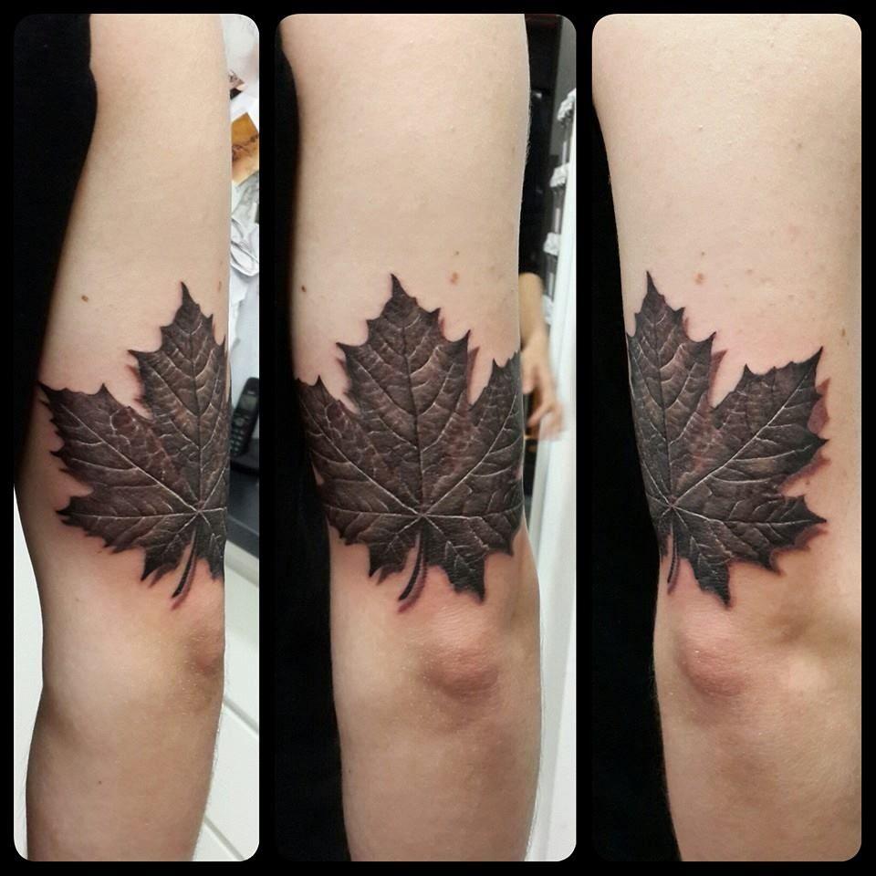 Small Canada Tattoo: Realistic Leaf By Memento.