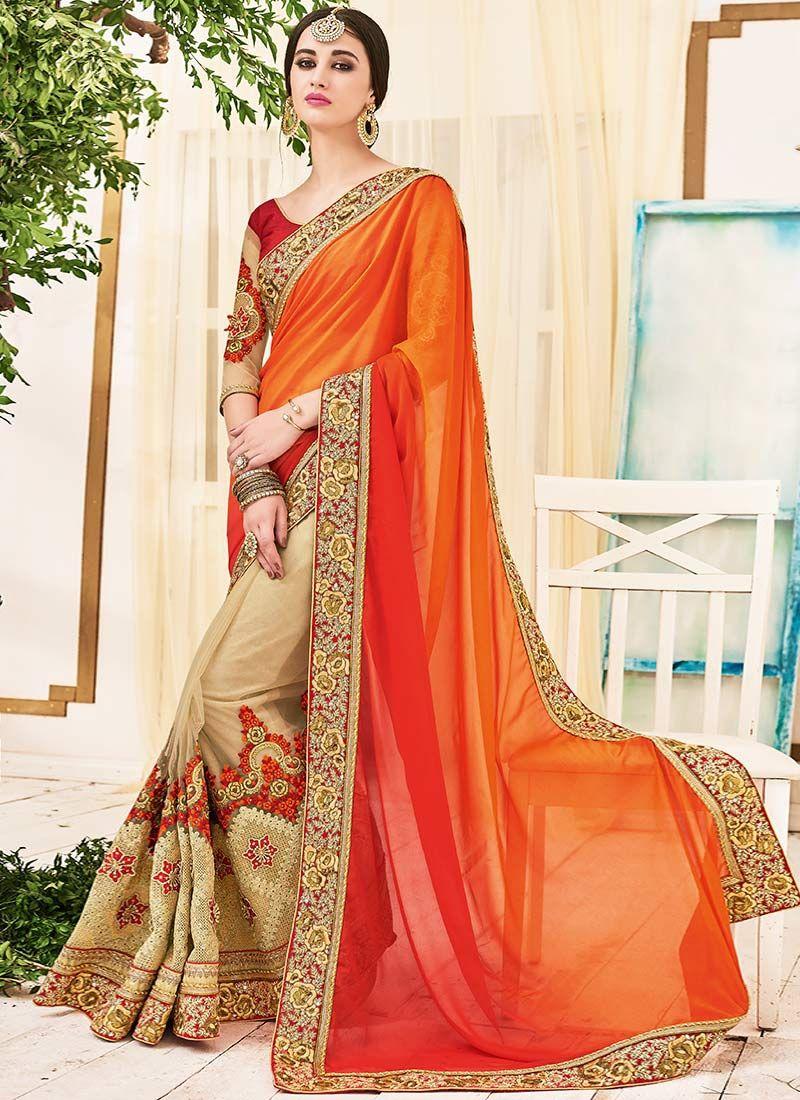 Buy Best Beige and Orange Georgette Designer Half N Half saree, Online #sarees #royal #designersarees