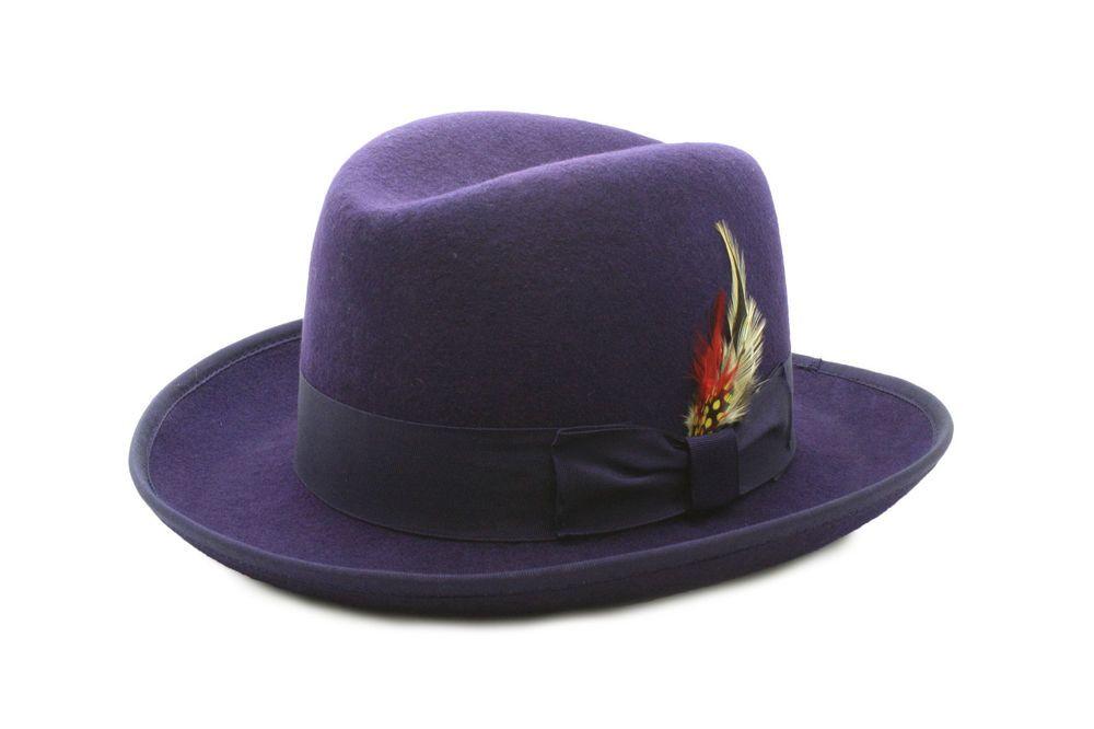 61bad5d83cb52 Dark Purple GodFather Wool hat with feather 100% wool satin inner lining   godfatherhat  godfatherwoolhat
