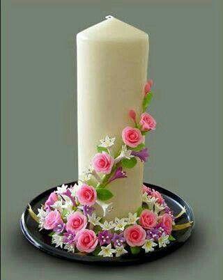 ♡♡♡ Svíčka * s růžičkami