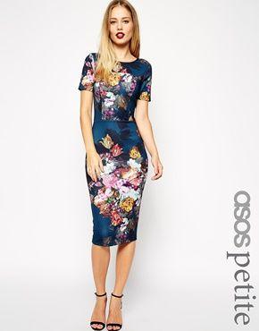 Vestido de ASOS PETITE impresión floral Scuba Body-Consciente