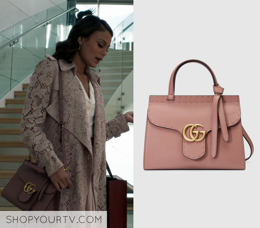 156122287b1 Cristal Flores wears this Gucci GG Marmont leather top handle mini bag on  Dynasty 1x01