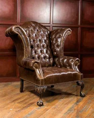 Gascoigne Wingback Chesterfield Leather Armchair Suit Vintage