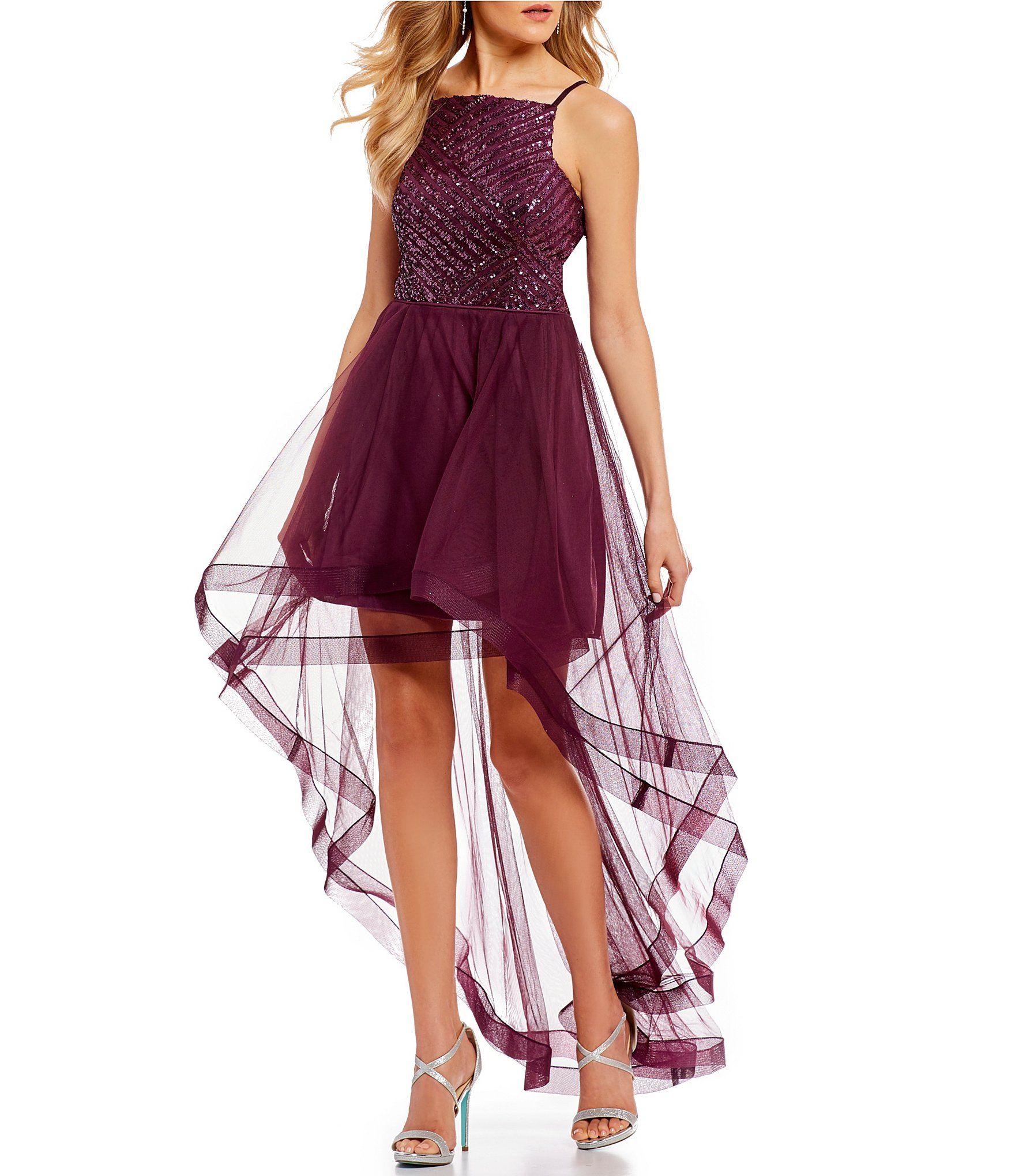 f675c760ac2 Shop for Jodi Kristopher Sequin Pattern Bodice Long High-Low Dress at  Dillards.com