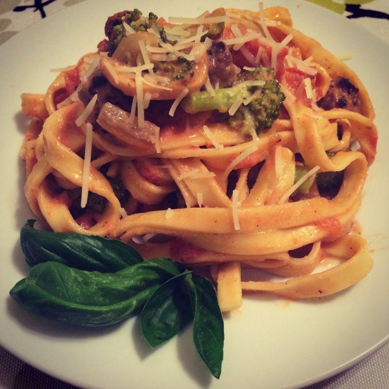 A #comfortfood favorite of mine: Sausage and vegetables in creamy tomato vodka cream sauce. #pasta #nom
