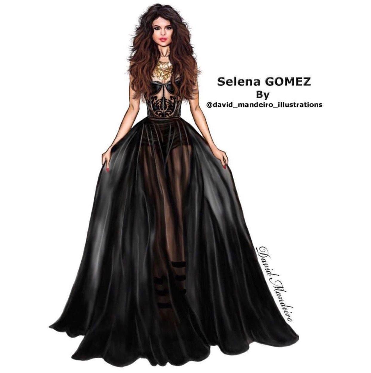 David Mandeiro Selena Gomez Fashion Illustration Collage Fashion Design Drawings Art Dress