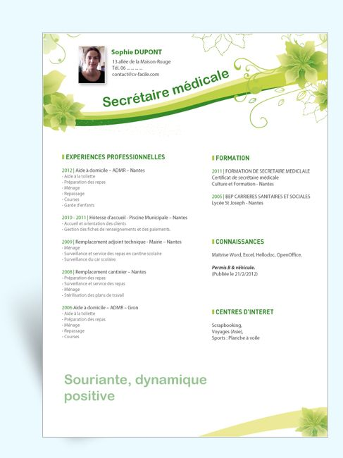 cv gratuit secretaire medicale