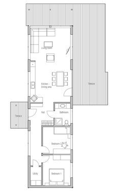 Small House Plan Two Bedrooms Suitable To Narrow Lot Affordable Building Budget Good Vacation Ho Narrow Lot House Plans House Plans Small House Floor Plans
