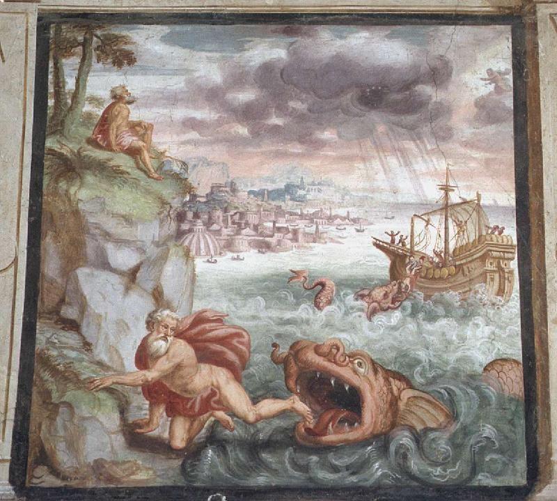 Giovan Battista Guarinoni - Giona e la Balena - affresco - 1577 circa - Cappella centrale - Chiesa San Michele al Pozzo bianco - Bergamo (Italia)