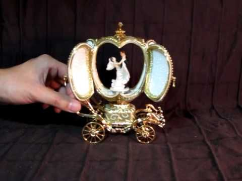 Faberge Style Golden Music Box Dancing Bride Groom Carousel Mov