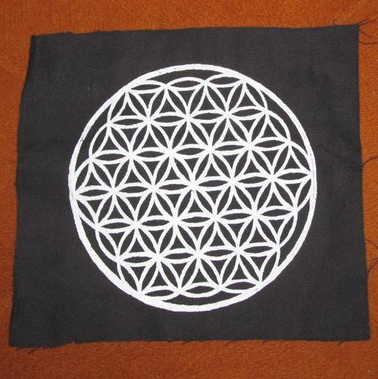 Large - Flower of Life Patch - White Ink on Black Canvas - Large ...
