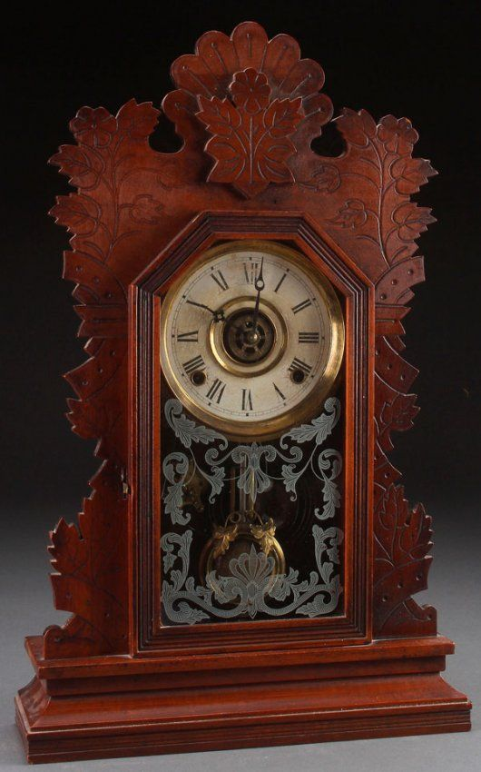 gilbert kitchen clock remove grease buildup from cabinets a quail victorian walnut shelf lot 752 old antique wall clocks