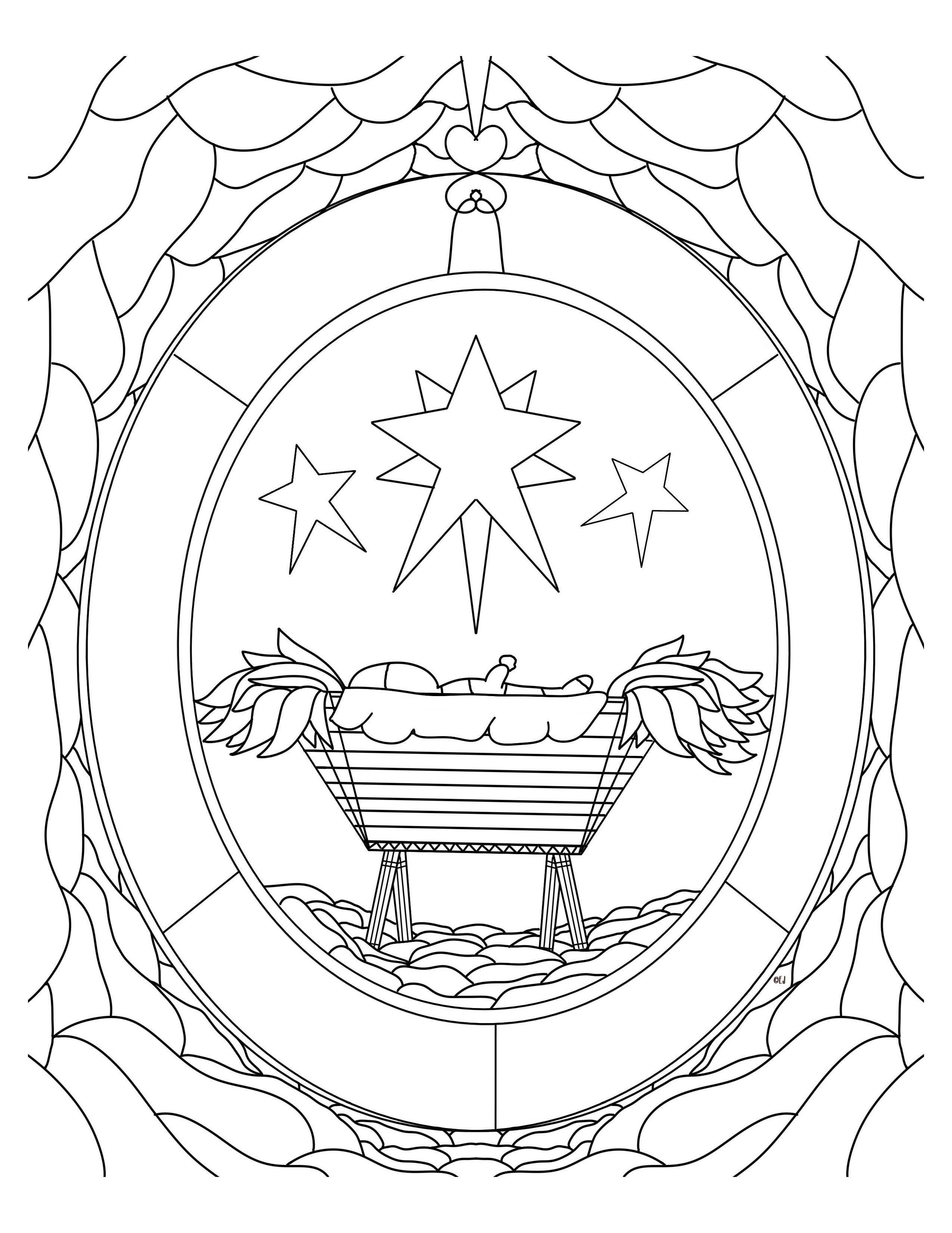 Babe in a manger free christmas coloring sheet christmas
