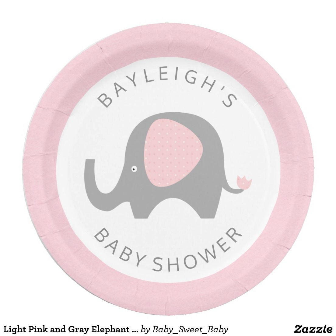 Light Pink and Gray Elephant Paper Plates  sc 1 st  Pinterest & Light Pink and Gray Elephant Paper Plates | Grey elephant and Babies