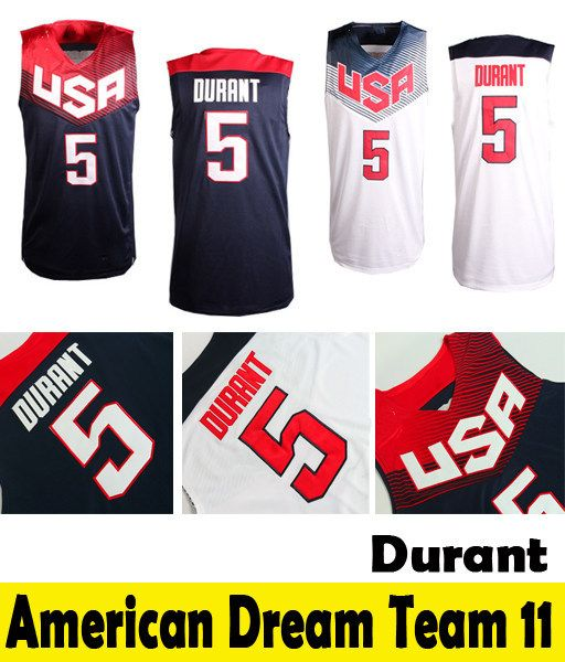 18bb24c3ba4 2014 World Cup USA Basketball Jersey Kevin Durant 5 USA Dream Team 11  Customize Jersey Men s Top Quality Shorts Embroidery logo