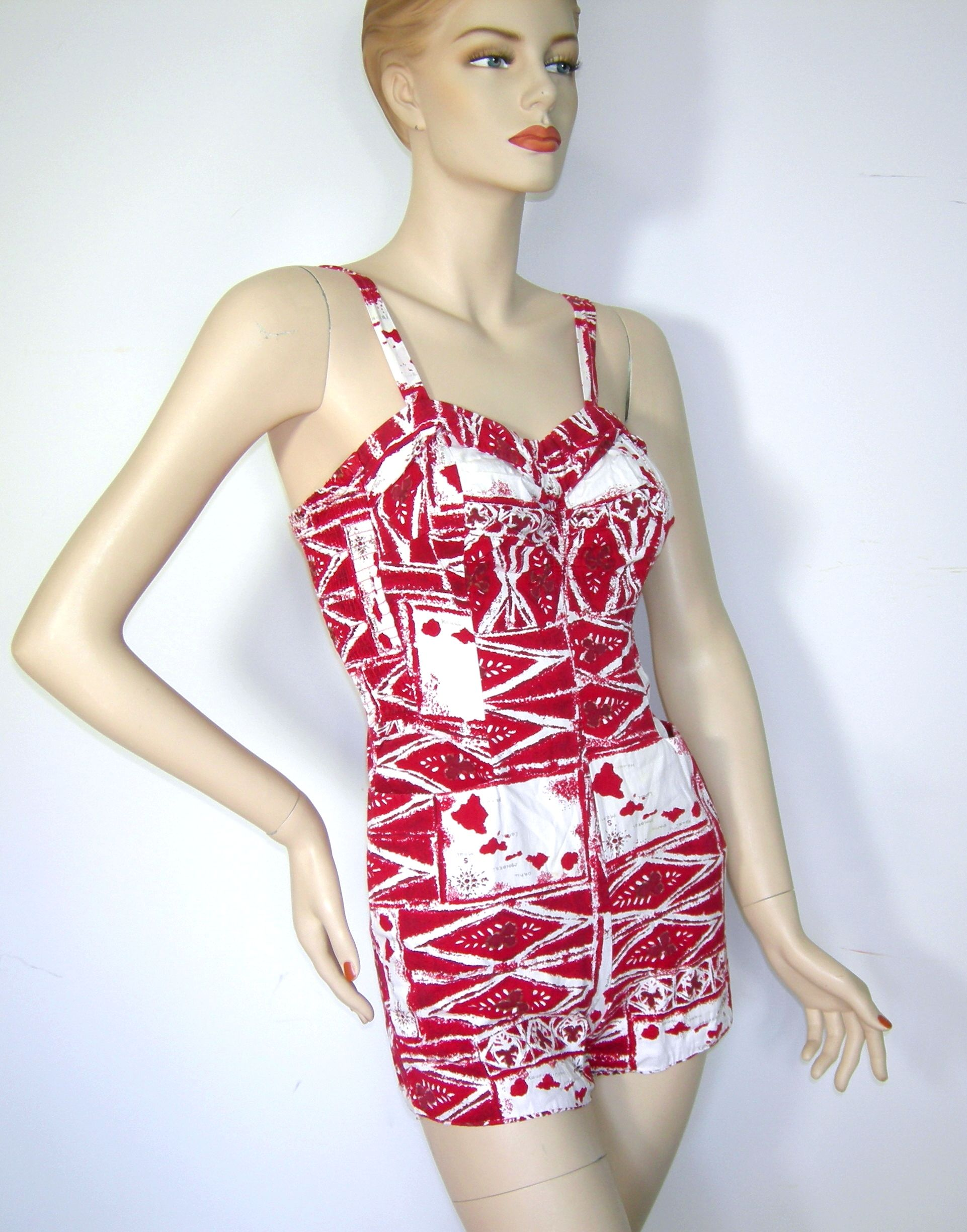 Vintage 50s Alfred Shaheen Romper Swimsuit Bathing Suit
