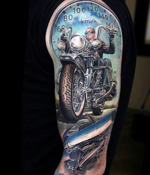a706a525c Motorcycle Full Sleeve Tattoos For Men Biker themed Tattoo Inspiratitions. Old  school vintage styled biker tattoos