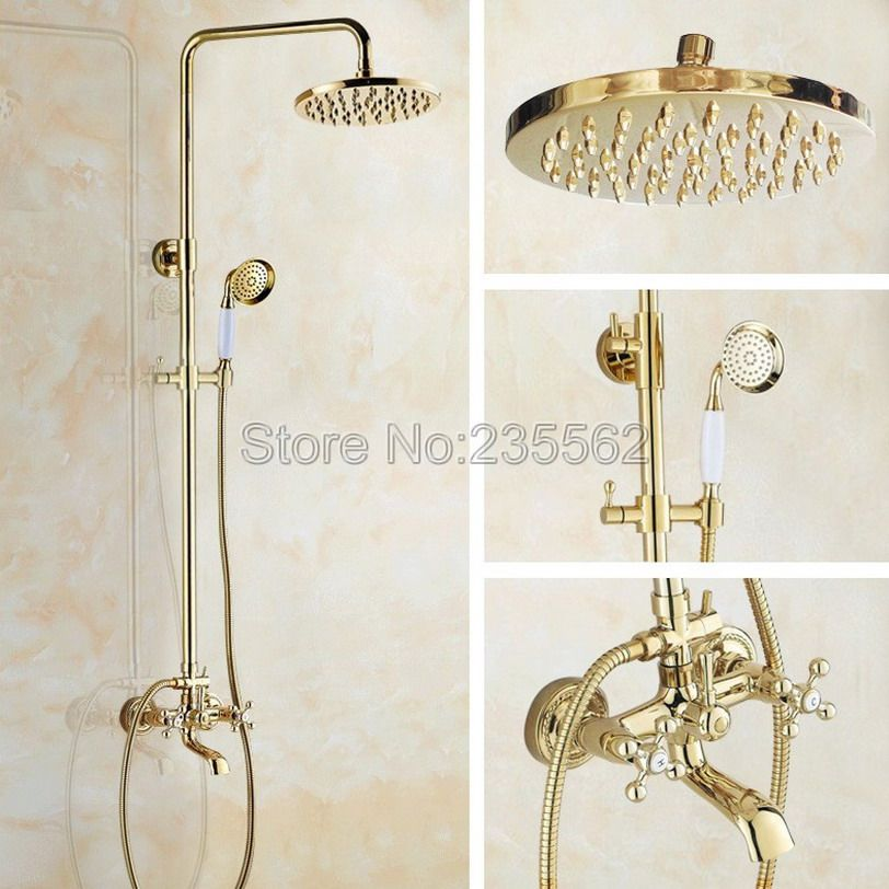 Gold Color Brass Bathroom Round Rainfall Shower Heads Rain Shower ...