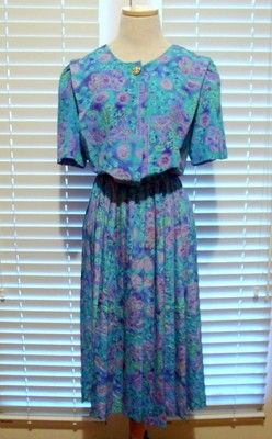 RETRO RAG Vintage 80s LADY CAROL teal/purple print SHIRTWAIST pleated DRESS M