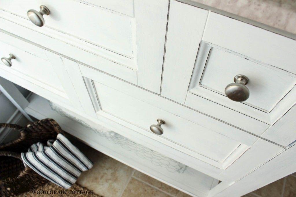 Powder Bathroom Vanity Makeover - The Wood Grain Cottage